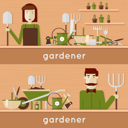 farm worker: Man and woman gardeners with their garden tools. Environmental activities. Gardening icons set. Modern flat style. Vector illustrations. 2 banners.