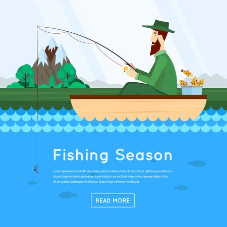 barca da pesca: Pescatore seduto in barca e pesca. Vector piatta illustrazione.