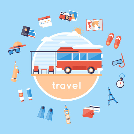 Travel by bus. Bus and around icons. Camping. Camping van. Travel camping. Summer vacation, traveling, beach recreation, surfing, lifestyle. Flat design vector illustration. Illustration
