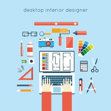 interior designer: Interior designer workplace. Interior designer planning on laptop top view. Interior design project, architectural plan, technical project. Engineering for interior design. Flat design Illustration