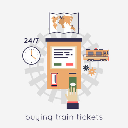 sleepers: Buying train tickets. Hand and ticket auto-mat. Vector flat illustration. Illustration