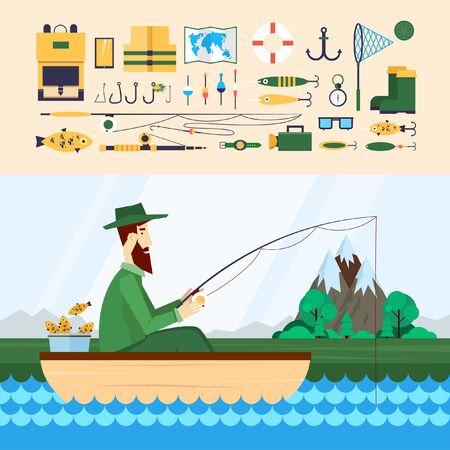 pescador: Pescador sentado en el bote y pesca. Iconos de pesca. 2 banderas. Ilustración vectorial Diseño plano.