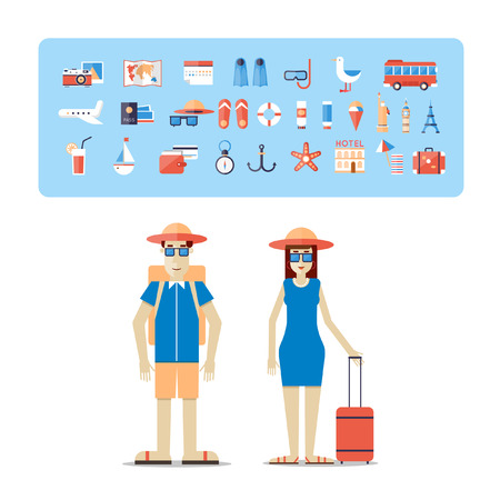 Man and woman together on a trip. World Travel. Planning summer vacations. Summer holiday. Tourism and vacation theme. Flat design vector illustration. Illusztráció