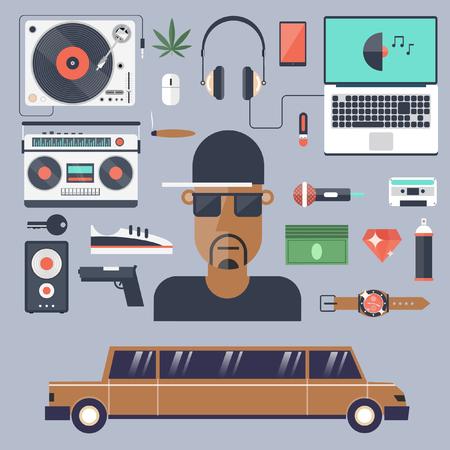 rap: Rap and hip-hop music.Set of flat icons vector illustration.