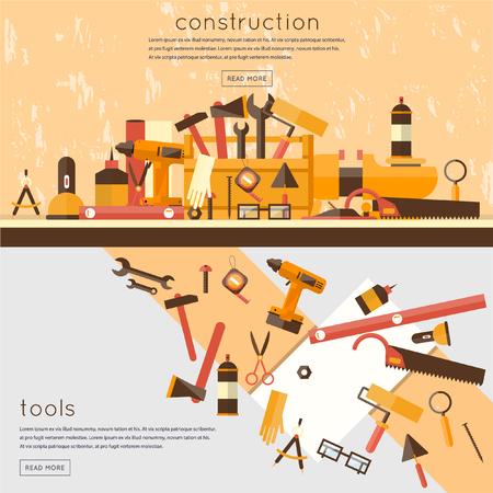 herramientas de trabajo: Construcción, reparación y decoración obras. Un conjunto de herramientas para la reparación, construcción. Conjunto de herramientas de los trabajadores iconos planos. 2 banderas.