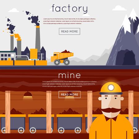 광물 광업, 검은 광산, 석탄 산업. 광산에 광부는 품종을 생산하고 있습니다. 트럭은 공장 내에서 바위를 수행합니다. 플랫 디자인 벡터 일러스트 레이