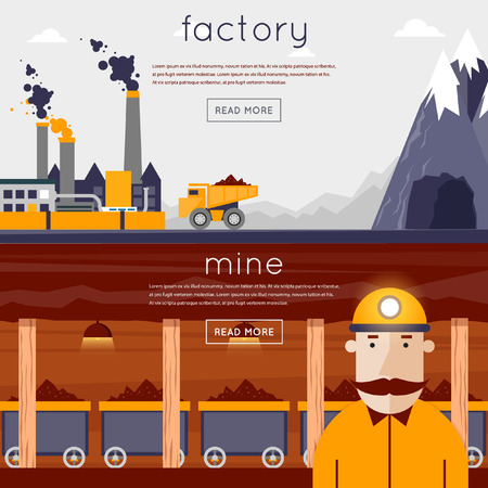 Mineral mining, black mining, coal industry. Miner in a mine produces breed. The truck carries the rock from the mine to the plant. Flat design vector illustration. 2 banners. Ilustração