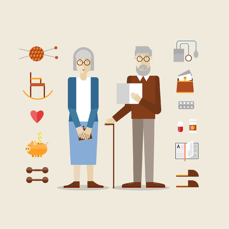 retirement age: Elderly man and woman grandparents. Set of icons. Flat style. Illustration