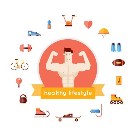 sport club: Bodybuilding isolated label. Champion creative vector in modern flat style. Sport club badge vector illustration. Fitness. Sports exercise fitness workout. Vector flat illustration. Flat icons.