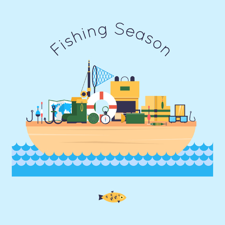 tackle: Fishing boat in the water and tackle. Vector illustration. Flat design.