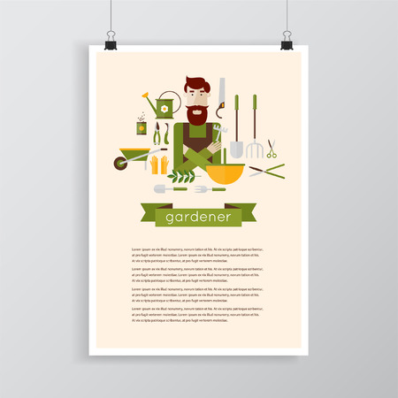 gardening hose: Man gardener and garden tools. Environmental activities. Gardening icons set. Poster. Modern flat style. Vector illustrations.
