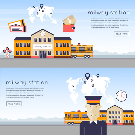 tren caricatura: Concepto de la estación de tren. Conductor de la estación de tren en el fondo del tren y mapas. Tren, reloj, mochila, mapa, estación de tren, los rieles. Iconos planos ilustración vectorial.