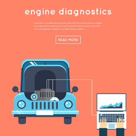 car engine: Car service. Diagnosis of engine. Auto mechanic repair of machines and equipment. Car diagnostics. Vector illustration and flat icons.