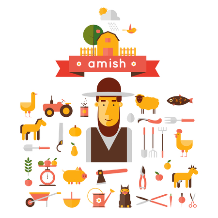 amish: Amish and icons in a flat style.