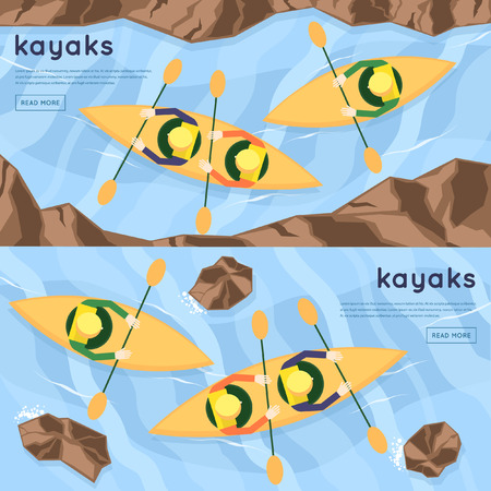kayaking: People floating on the river kayaking. Summer. Top view. Flat design vector illustration.