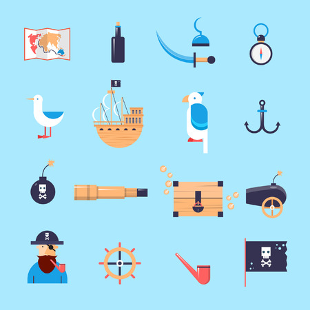 scroll wheel: Set of pirates icons. Flat design vector illustration.