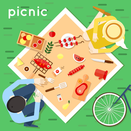 picnic cloth: The man and woman had a picnic on the nature top view. Bedspread, biking, food, lovers. Flat design vector illustration.