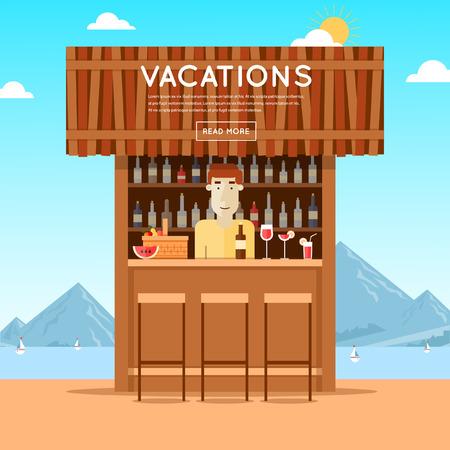 wooden hut: Bar on the beach, a bartender behind the bar. Summer. Poster. Flat design vector illustration.