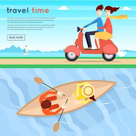 river vector: Man and woman traveling on a moped, lovers float a boat on the river a top view. Summer. Flat design vector illustration.