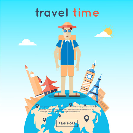 Man travels the world, Egypt, USA, Japan, France, England, Italy. World Travel. Planning summer vacations. Summer holiday. Tourism and vacation theme. Flat design vector illustration.