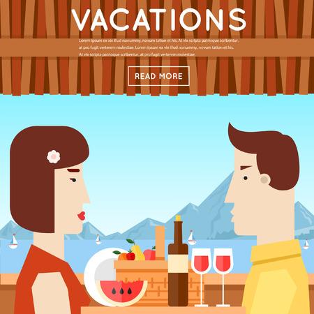 pareja comiendo: Amante de la pareja sentada en el restaurante en el paseo marítimo. Verano. Cartel. Ilustración vectorial Diseño plano.