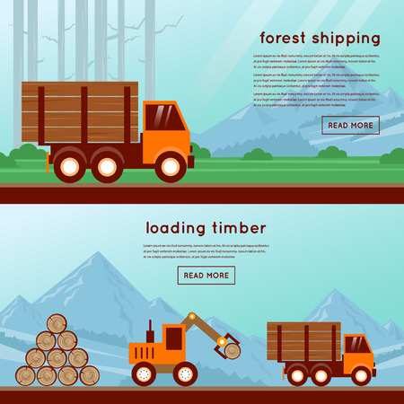 logging: Forestry. Timber transportation by truck, loading logs in the truck 2 banners. Flat design vector illustrations.