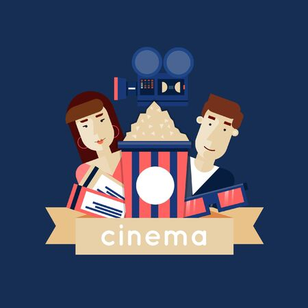 watching: Man and a woman in a movie. Tickets, cinema, glasses, popcorn. Flat icons vector illustration.