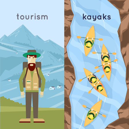 A man traveling in the mountains, people paddle kayaks a top view. Summer. Flat design vector illustration. 矢量图像