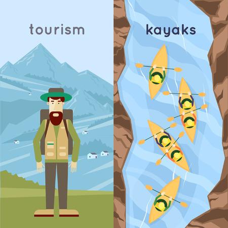 ocean kayak: Un hombre que viaja en las monta�as, la gente remar kayaks una vista desde arriba. Verano. Ilustraci�n vectorial Dise�o plano. Vectores