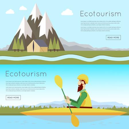 ocean kayak: Hombre que flota en el r�o en un kayak, paisaje con monta�as y tienda. Verano. Ilustraci�n vectorial Dise�o plano.