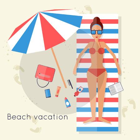 girl drinking water: Girl lying on the beach sunbathing. Summer. Flat design vector illustration. Illustration
