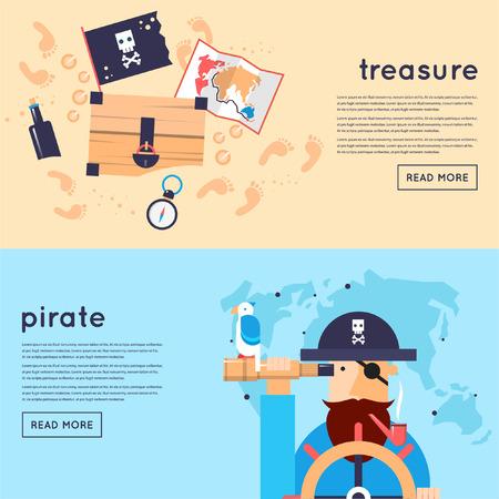 Set of pirates banners. Flat design vector illustration. Vettoriali