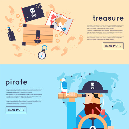 treasure: Set of pirates banners. Flat design vector illustration. Illustration