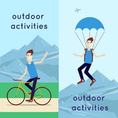 parachutist: A man riding his bike and jumps with a parachute. Summer. Flat design vector illustration.