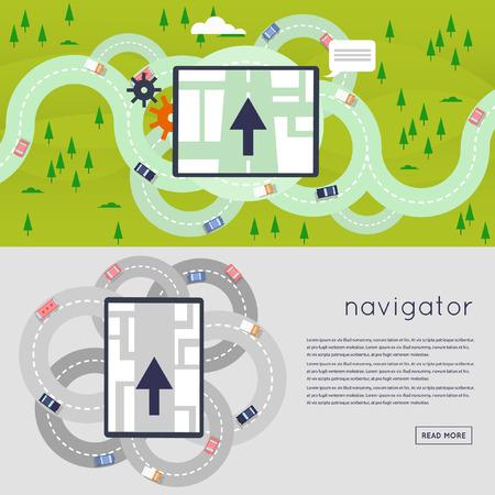 to navigation: Navigator que indica la direcci�n del movimiento a un lugar predeterminado. Carreteras de circunvalaci�n. Sistema de navegaci�n GPS. Ilustraci�n vectorial Dise�o plano. Vectores