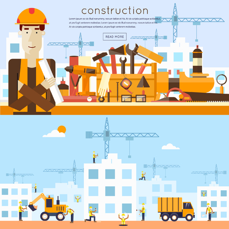 engineers: Construction. Engineer, architect, foreman at a construction site. Architect holding a project. Truck and excavator on a construction site. Building a house. Flat icons vector illustration. Illustration