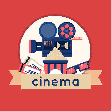 theatre audience: Cinema icons in circle. Tickets, cinema, glasses, popcorn. Flat icons vector illustration.