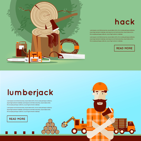 timber cutting: Lumberjack character with tools. 2 banners. Flat design vector illustration.
