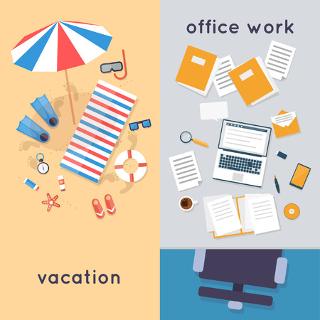 working on computer: Vacation at the beach and in the office workplace a top view. Summer. Flat design vector illustration. Illustration