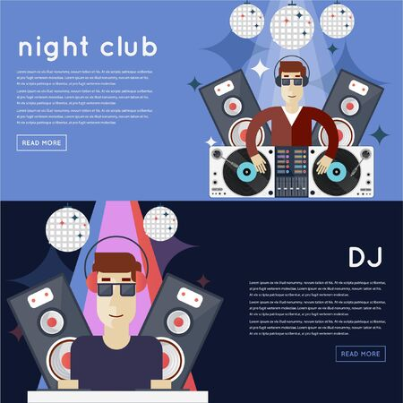 dj: DJ plays music at club banners with place for text. Flat design vector illustration. Illustration