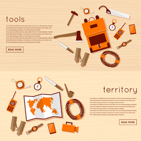 forestry industry: Foreman and lumberjack tools. 2 banners top view. Flat design vector illustration. Illustration