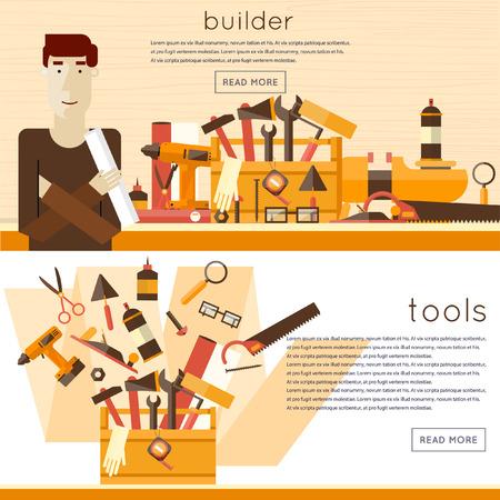 menuisier: Caractère Builder avec des outils 2 bannières. Design plat illustrations vectorielles.