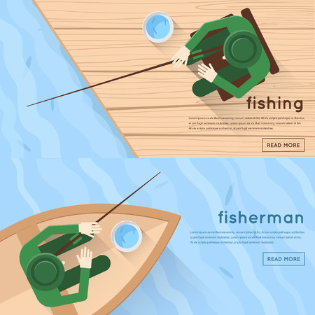 fishing lake: Fishermen sitting in boat and on pier 2 banners a top view. Flat design vector illustrations.