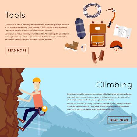 bergsteiger: Mountaineer. Bergsteigen. Rock climber. Extremsport. 2 Banner. Wohnung Stil Vektor-Illustration. Illustration