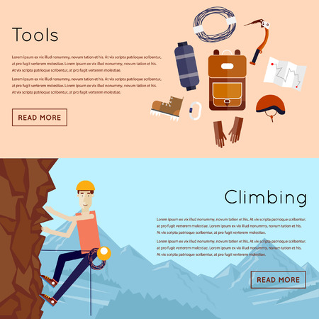 man climbing: Mountaineer. Mountain climbing. Rock climber. Extreme sport. 2 banners. Flat style vector illustration. Illustration