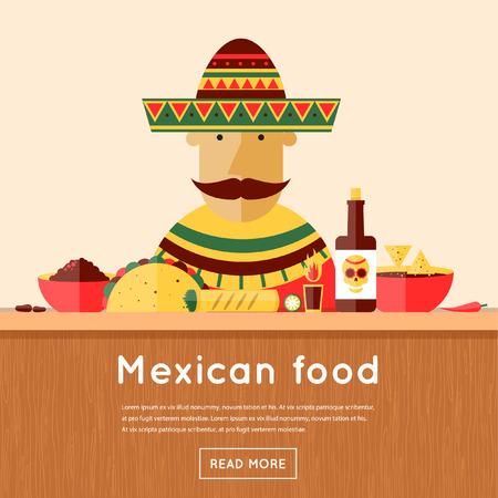 Mexican sells food. Mexican food. Flat design vector illustration.