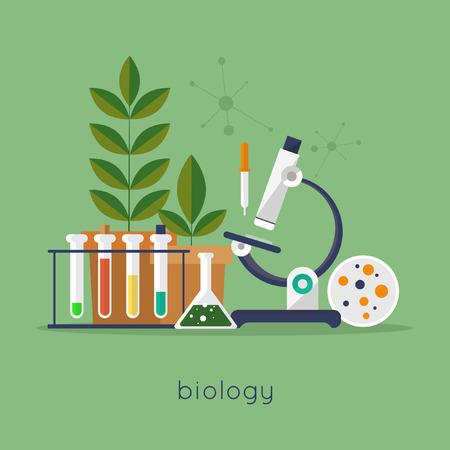 experimento: Espacio de trabajo de laboratorio de Biología y el concepto de equipo de la ciencia. Ilustración vectorial Diseño plano.