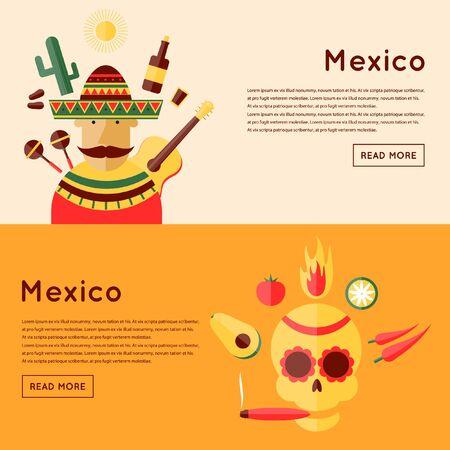 traje mexicano: México y los iconos alrededor. Cráneo y los iconos de México. Comida mexicana. 2 banderas. Ilustración vectorial Diseño plano. Vectores