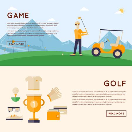 triunfador: Hombre que juega a golf montañas en el fondo. Ganador de la Copa y los iconos alrededor. 2 banderas. Ilustración vectorial de estilo Flat.