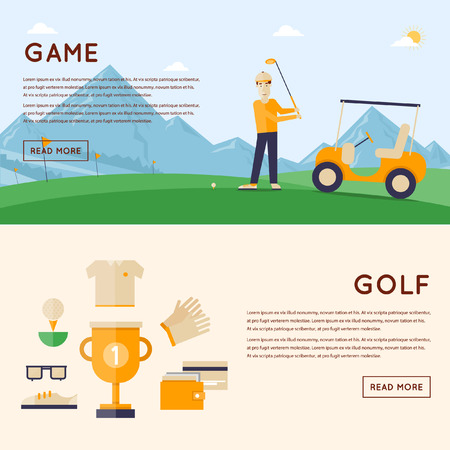 golf clubs: Man playing golf mountains in the background. Cup winner and icons around. 2 banners. Flat style vector illustration.